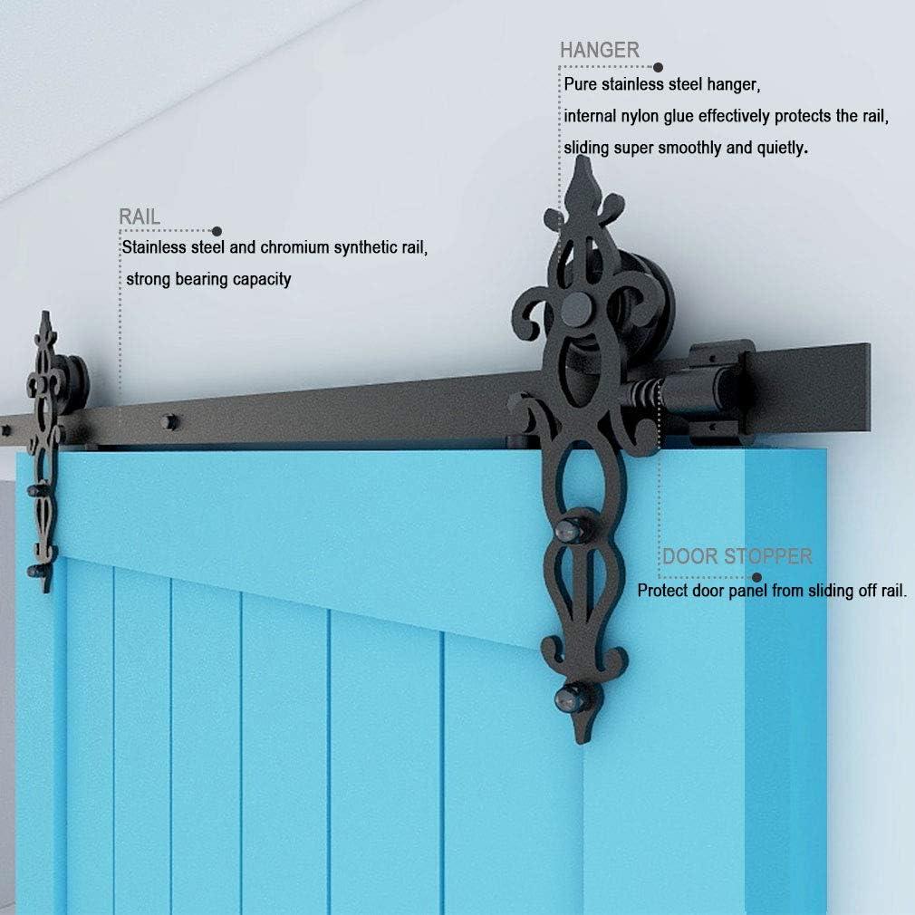 167CM/5.5FT Herraje para Puerta Corredera Kit de Accesorios, Guia Riel Puertas Correderas, Forma Tejido de una sola puerta estilo