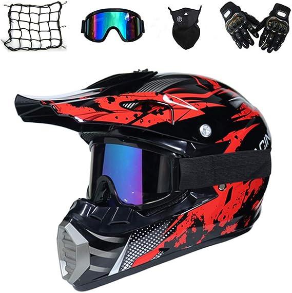 MRDEAR Casco de Motocross Hombre (5 Pcs) - Negro y Rojo - Casco ...