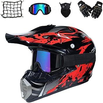 Motorrad Crosshelm mit Brille Handschuhe Maske MRDEAR Motocross Helm Schwarz und Rot Off Road Helm Kinder Erwachsener Motorradhelm Kit f/ür MTB Enduro ATV Downhill Sicherheit Schutz