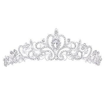 "Wedding Bridal/Bridesmaid Floral Rhinestone Tiara Crown 11.42"""