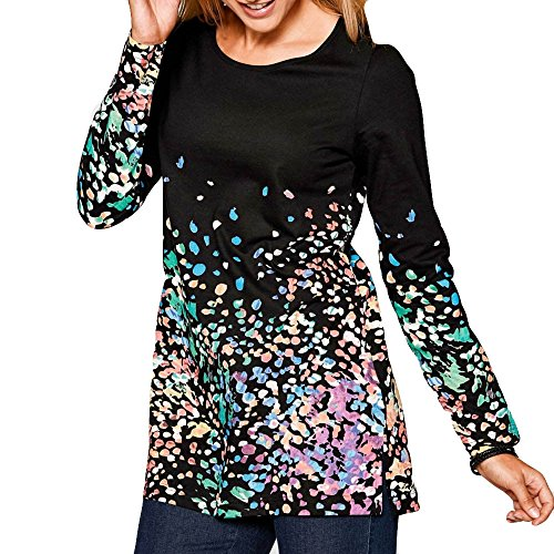 V-Neck Printed Long-Sleeved Top Womens Long Sleeve Print Fashion O-Neck Bllouse T-Shirt Blouse Tank Tops Elegant Chiffon Shirt Duseedik Black ()