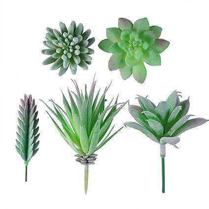 Amazon.com: Vosarea 5 PCS Artificial Succulent Fake Plants ...