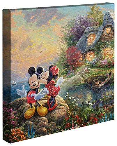 Thomas Kinkade Studios Disney s Mickey and Minnie Sweetheart Cove 14 x 14 Gallery Wrapped Canvas
