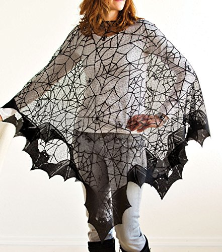 Spider Web Costume (Halloween Bats Poncho with Spider Webs, Costume, by Heritage Lace, 58