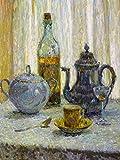 Still Life cup bottle coffeepot spoon sugar bowl table by Henri Le Sidaner Accent Tile Mural Kitchen Bathroom Wall Backsplash Behind Stove Range Sink Splashback One Tile 6''x8'' Ceramic, Glossy