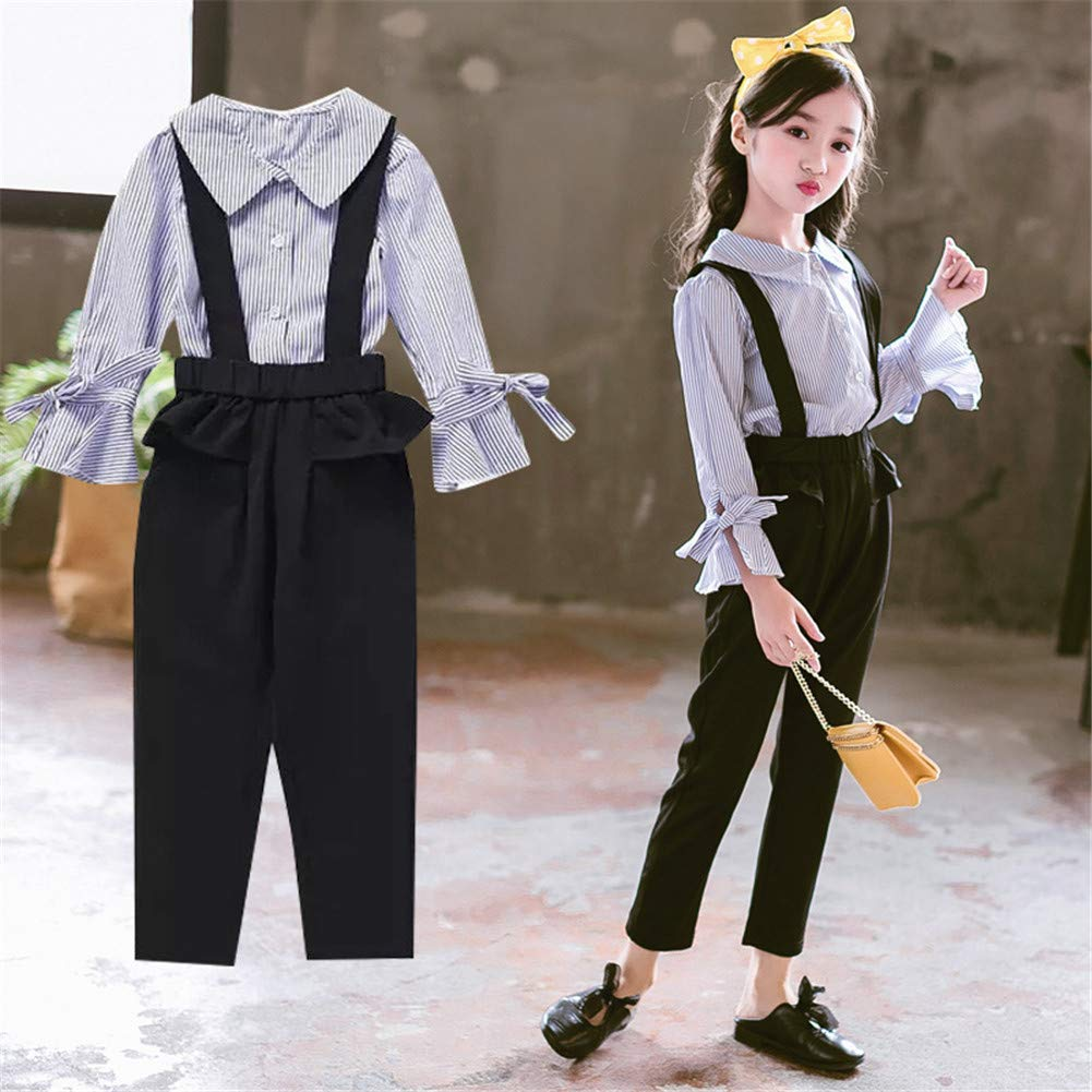 FTSUCQ Girls Striped Button-Down Shirts Top Overalls Suspender Loose Bib Pants