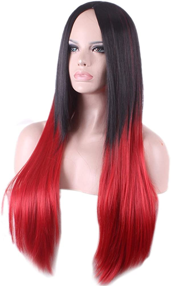 Mangadua 31 Long Straight Wigs Black to Red Synthetic Cosplay Anime Wig