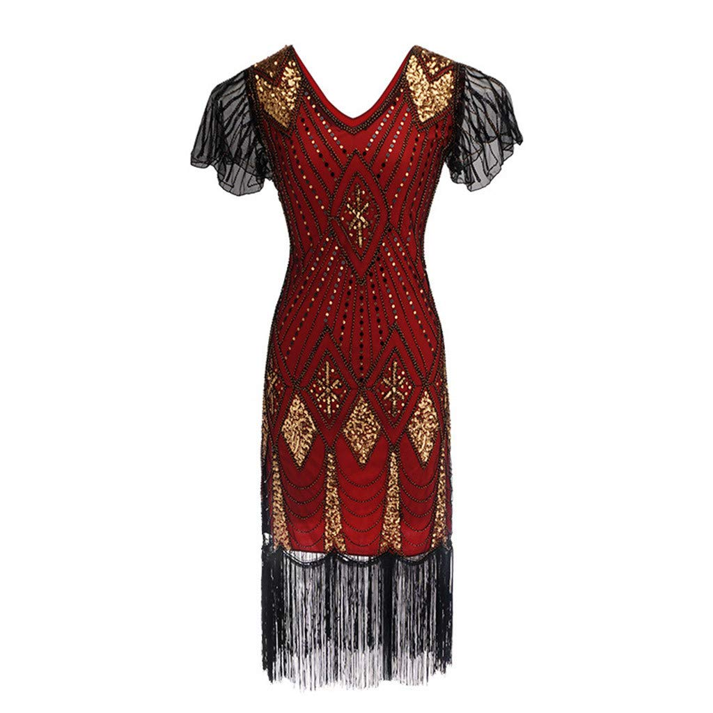 Women 1920s Art Deco Sequin Paisley Flapper Tassel Glam Party Cocktail Dresses FNKDOR Gatsby Dress