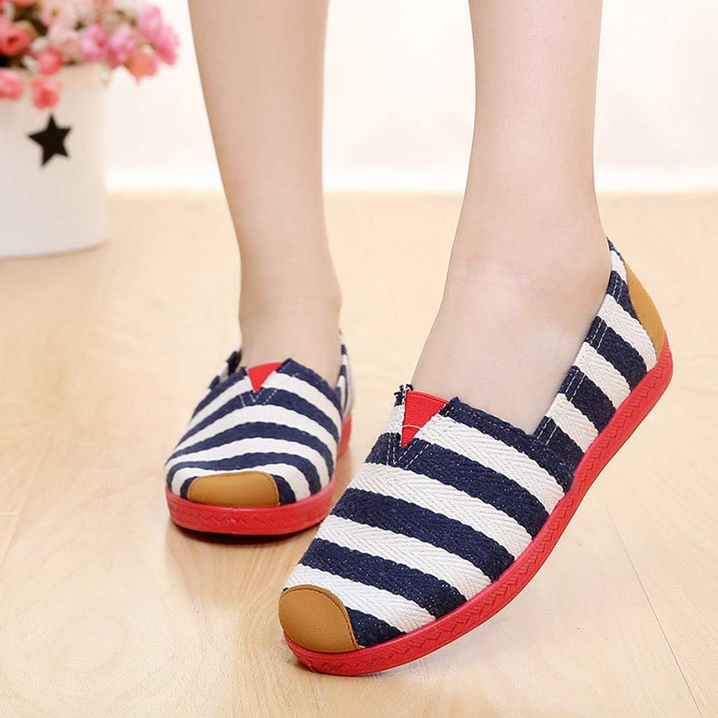 dbe34ba2bc4a Amazon.com  kaifongfu Canvas Work Shoes Women Soft Leisure Flats Shoes   Clothing