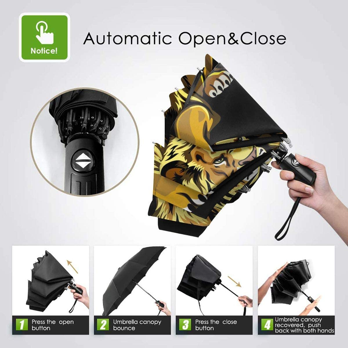 Ferocious Lion Automatic Open Folding Compact Travel Umbrellas For Women