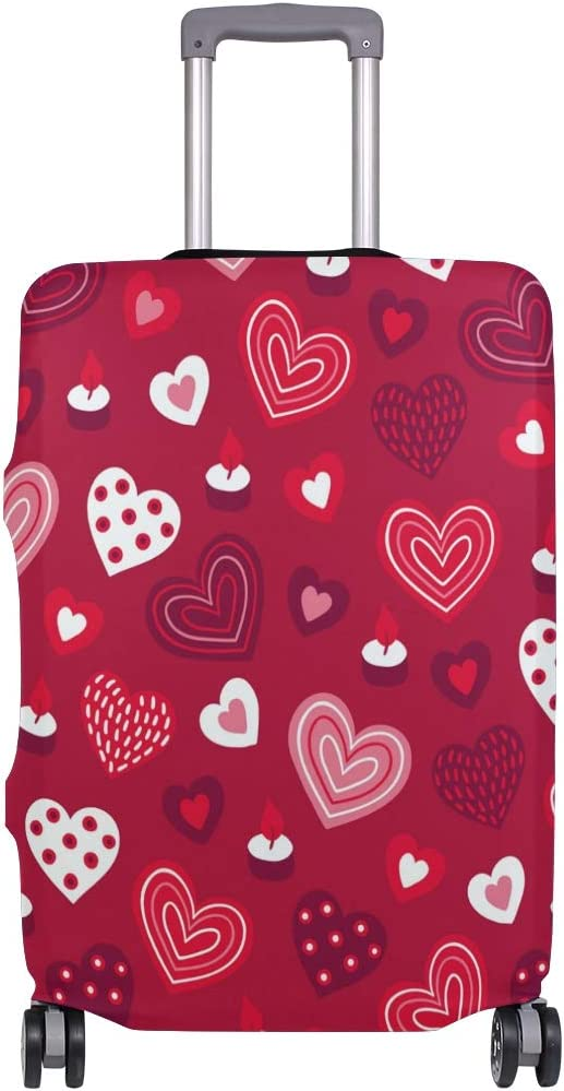 FOLPPLY Valentines Day Red Love Heart Pattern Luggage Cover Baggage Suitcase Travel Protector Fit for 18-32 Inch