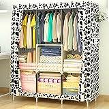 XENO-Newest Wardrobe Bedroom Useful Storage Shelves Organizer Clothes Hanging Closet(black-white)