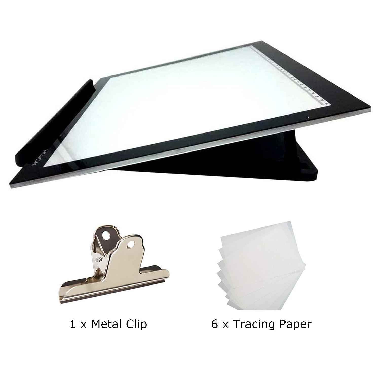 Huion 17.7  Tavoletta Luminosa Light Pad Copy Board Tracing Box Extra Sottile LED Tavolette Disegno Tavolo Luminoso con il Supporto Multifunzione, Fermaglio per Carta, 6 PCS di carta di tracing (L4S Holder)