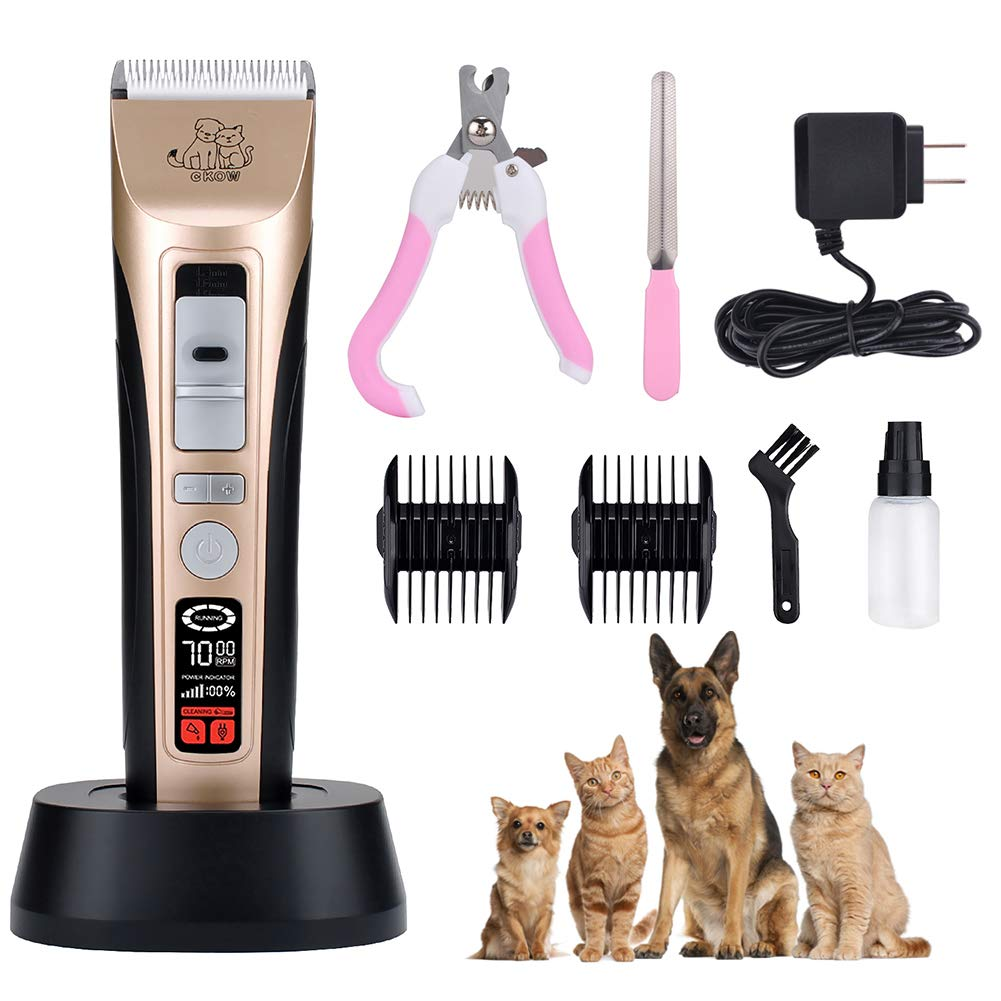 Pet Grooming Clippers-5 Speed Pet Hair Clippers Low Noise Dog Grooming Kit Heavy Duty Dog Clippers Rechargeable Dog Trimmer Professional Cat Shaver LCD Screen Pet Electric Clippers for Dogs Cats