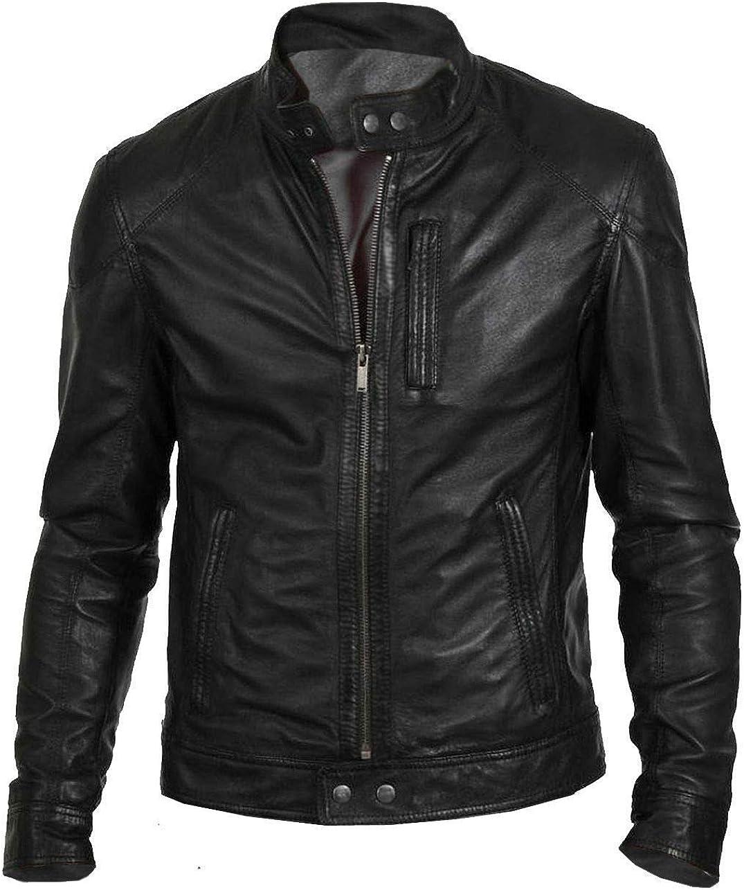 Zamish Leather Mens Hunt Black Classic Fashion Biker Jacket in Lambskin Leather