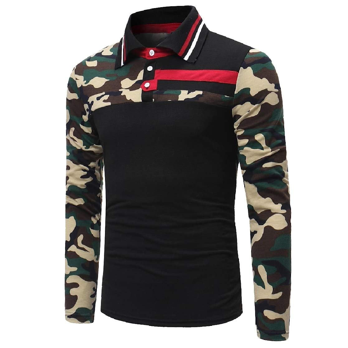 YUNY Men Casual Polo-Collar Camouflage Stitch Top T-Shirt Blouse Black S