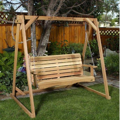 All Things Cedar AF90-S Swing with A-Frame, 6' (Cedar 6' Garden Bridge)