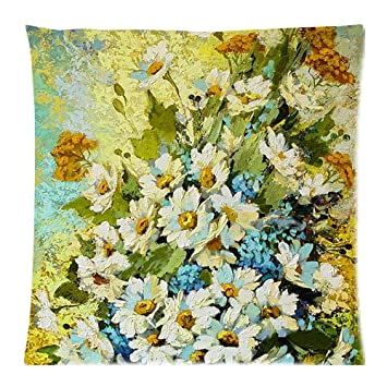 Beautiful White Daisy Blossoms Flowers Oil Painting Art Unique Throw ...
