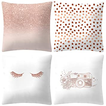 4PCS Rose Gold Pink Throw Pillow Cover Home Decorative Cushion Case 18 x 18  Inch Cotton Linen
