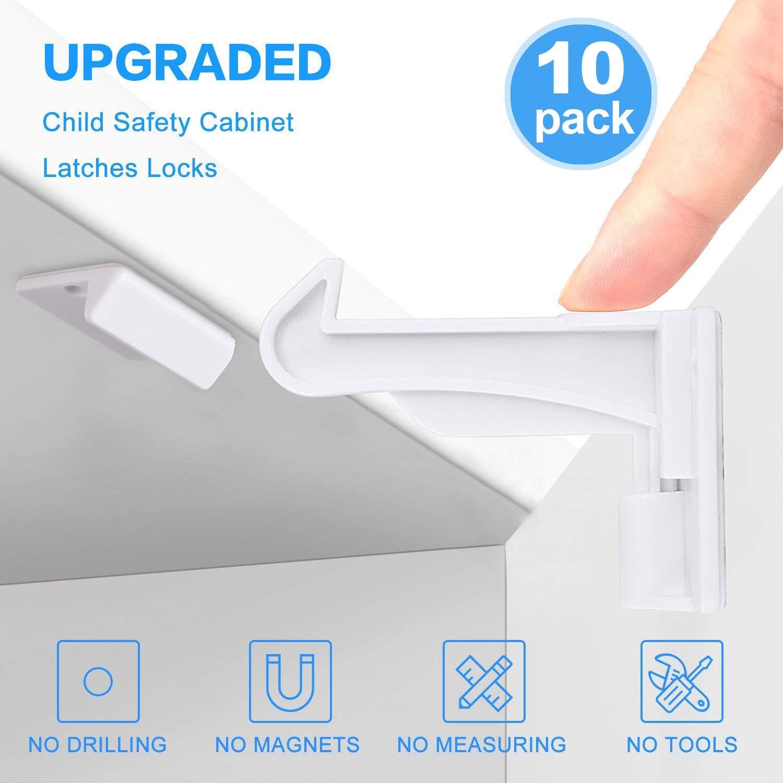 10 Pack Cerraduras de Seguridad Funda para Beb/és y Ni/ños Amcor Love Invisible Cierres de Seguridad Funda para Armarios y Cajones