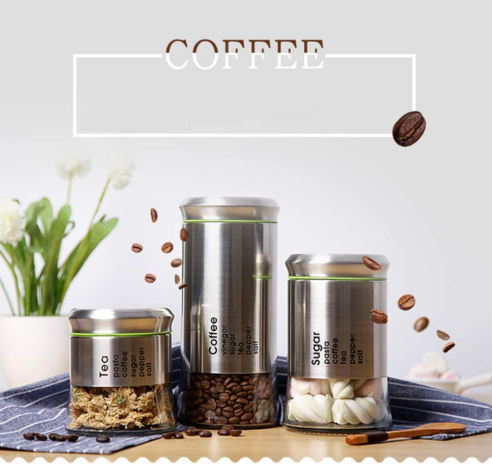 Kaffeevorratsglas Luftdichter Kaffeevorratsbeh/älter Aus Edelstahl F/ür Kaffeekanister Kaffeebohnen Und Gemahlenen Kaffee Frische Gesch/ützt