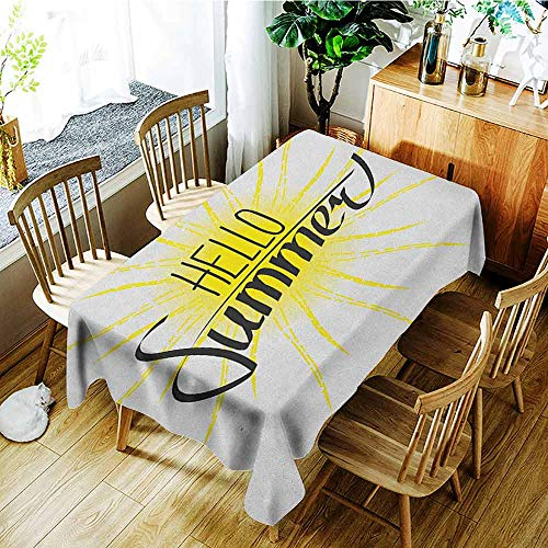 XXANS Small Rectangular Tablecloth,Hello Summer,Linear Drawing of The Sun with Extending Rays and Calligraphic Composition,Table Cover for Kitchen Dinning Tabletop Decoratio,W60X102L Earth -
