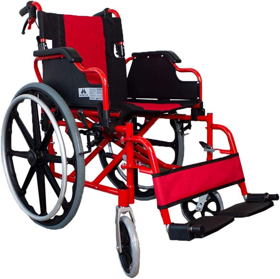 Mobiclinic, modelo Torre, Silla de ruedas para minusválidos, plegable, ortopédica, de aluminio, freno en manetas, reposapiés, reposabrazos, color Rojo y Negro, asiento 44 cm, ultraligera