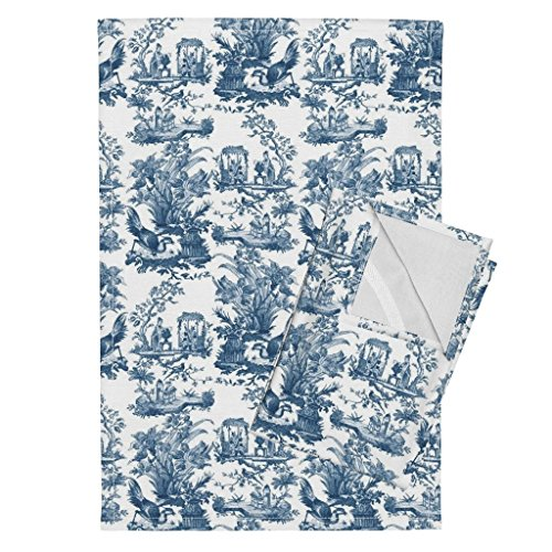 (Roostery Antique Tea Towels Chinoiserie Toile Lonely Angel Blue and White Antique Bird Floral Antique Toile Lonely Angel by Peacoquettedesigns Set of 2 Linen Cotton Tea)