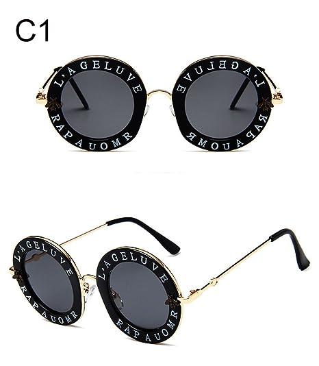 qbling technolog Lunettes de soleil femme ronde Retro Brand designer  anglais Lettres Bee cadre métallique Circle 8dd98b41814b
