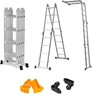 Finether 15.4ft Telescoping Ladder Multi Purpose Aluminum Extension Ladder, Folding Ladder 330lb Capacity with Safety Locking Hinges (New Non-Slip Mat and Wheels for Free)
