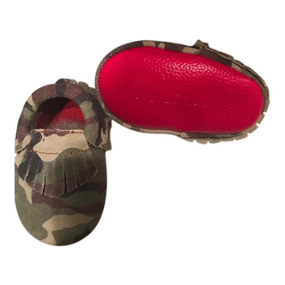 d69463061e07 Amazon.com  Baby Girls Camo Red Soft Sole Suede Exotic Moccasin Crib Shoes  6-12M  Clothing