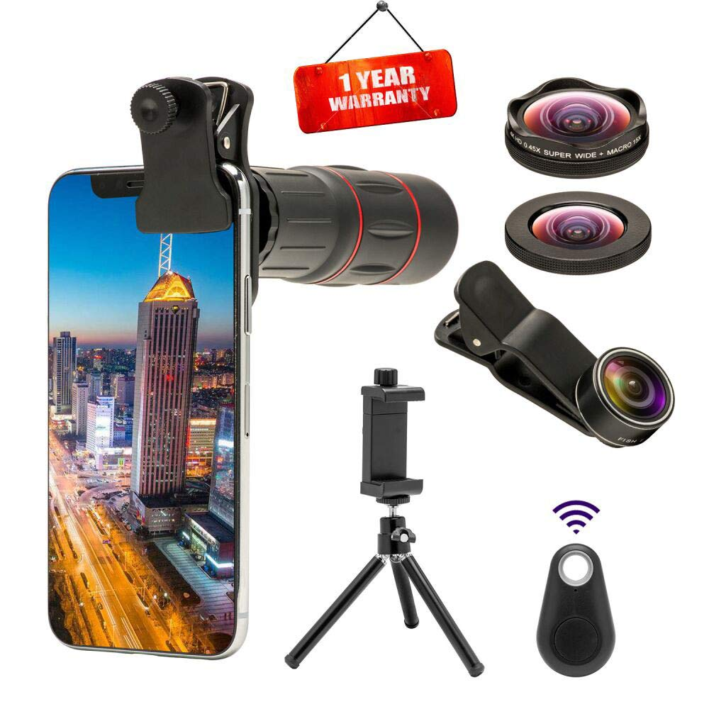 Godefa 18X Telephoto Zoom Lens with 4K HD Super Wide Angle/Macro/Fisheye Lens, 4 in 1 Cell Phone Camera Lenses Kit with Tripod and Camera Shutter for iPhone x 8 7 6 Plus, Samsung and Most Other Phone