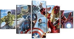 "5 Piece Marvel Avengers Canvas Wall Art, Large Movie Superhero Canvas Painting Marvel Poster Framed Artwork for Home Wall Decor, Avengers Iron Man Captain America Hulk Room Decor for Boys (60""Wx32""H)"