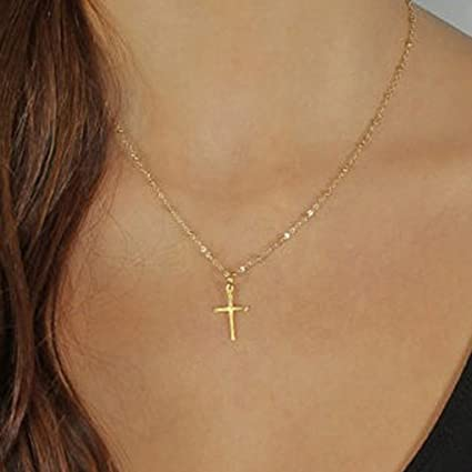 Amazon Com Canb Simple Cross Necklaces Pendant Chain Jewelry For