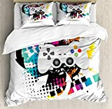 Lunarable Gamer Queen Size Duvet Cover Set, Modern Console Game Comtroller with Halftone Motif and Color Splashes Background, Decorative 3 Piece Bedding Set with 2 Pillow Shams, Multicolor