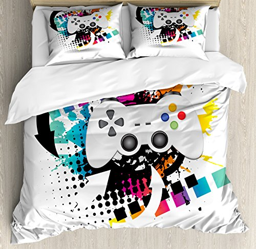 Lunarable Gamer Queen Size Duvet Cover Set, Modern Console Game Comtroller  With Halftone Motif And