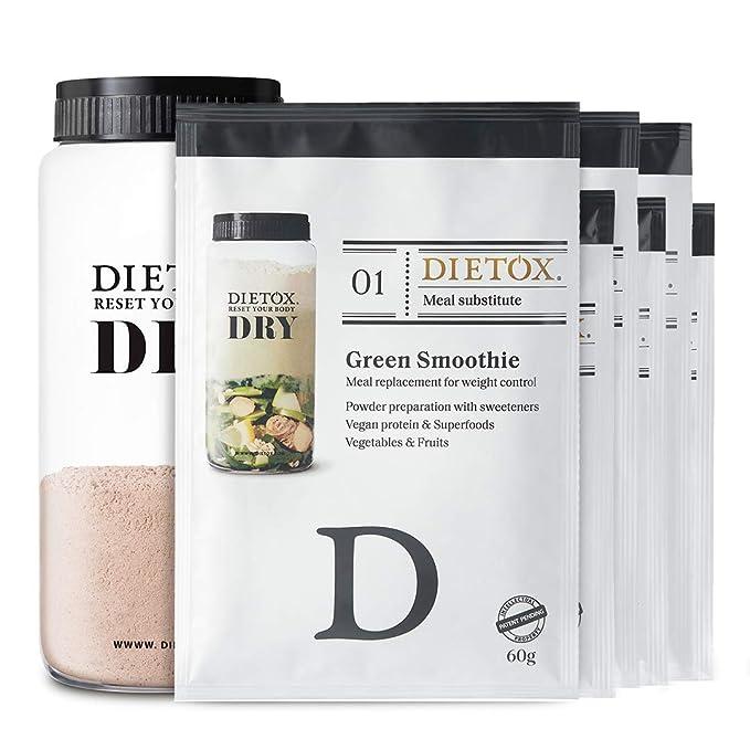 Dietox Dry Dieta Completa - 1 día de sustitución completo a base de batidos de proteína vegetal. Shaker Incl.: Amazon.es: Salud y cuidado personal