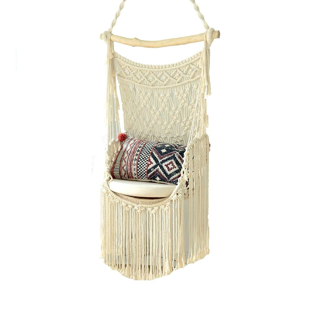 ZHAO YELONG Hand Made Swing, Hanging Chair, Cotton Rope Weaving, Lace Hammock, Indoor/Outdoor, Courtyard, Garden (Color : White)