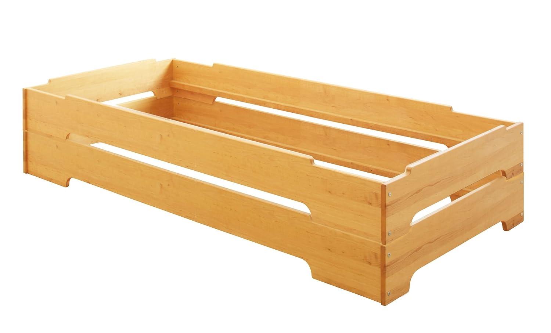BioKinder 2er Set Kai Stapelbett Stapelliege Gästebett aus Massivholz Erle 90 x 200 cm