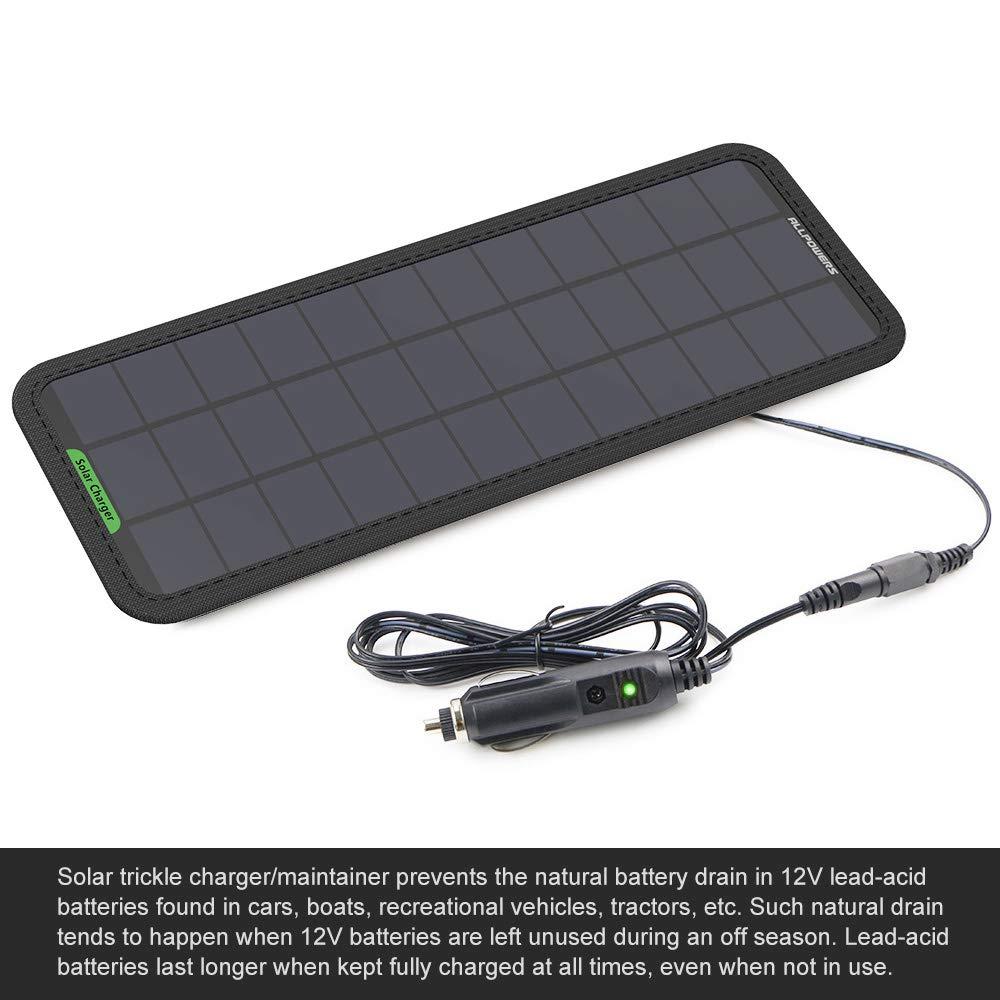 ALLPOWERS 18v 12v 7.5W Panel Solar Batería Cargador Mantenedor con Enchufe Cigarrillo, Línea Clip, Copas Succión y el Manual para Automóvil, ...