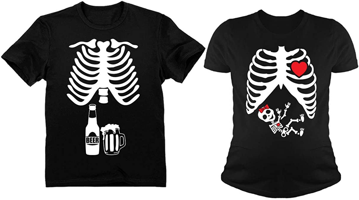 Halloween Skeleton Maternity Shirt Baby Girl X-Ray Matching Couples Set Beer Tee