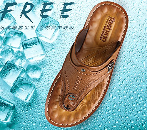 No.66 Town Mens Beach Shoes Leisure Flip Flops Slippers Leather Sandals Yellow Brown gNJw232dKz