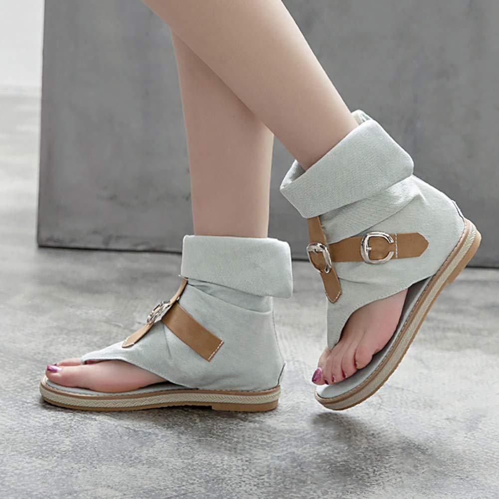 INSTAR Womens Cool Denim Flip Flops Cutout Back Zipper Flats Metal Sandals