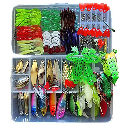 (Victoronlineshop Fishing Lure Kit for Freshwater Saltwater trout Bass Salmon include Vivid Spinner Baits,topwater Frog Lures,crankbaits Lures Spoon Lures (198PCS Set))