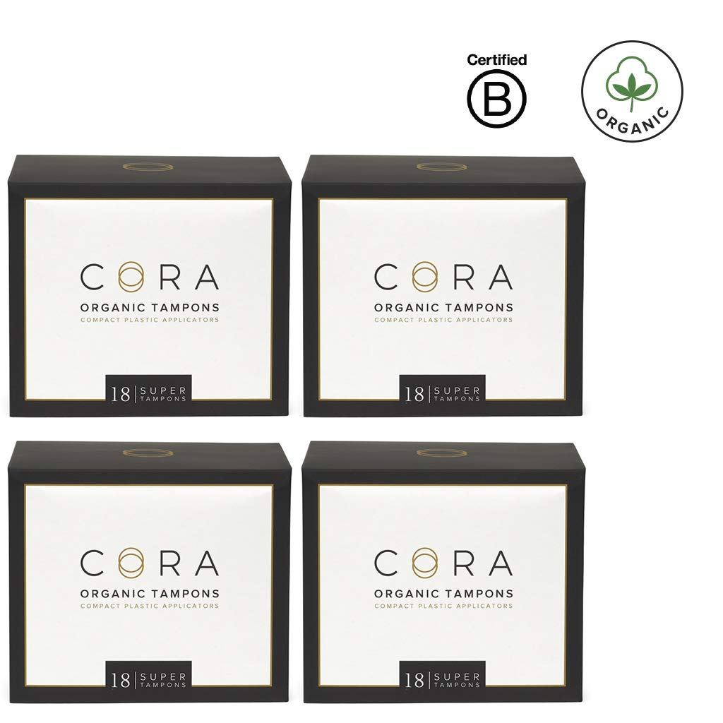 Cora Organic Cotton Tampons with BPA-Free Plastic Compact Applicator; Chlorine & Toxin Free - Super (72 Count) by Cora