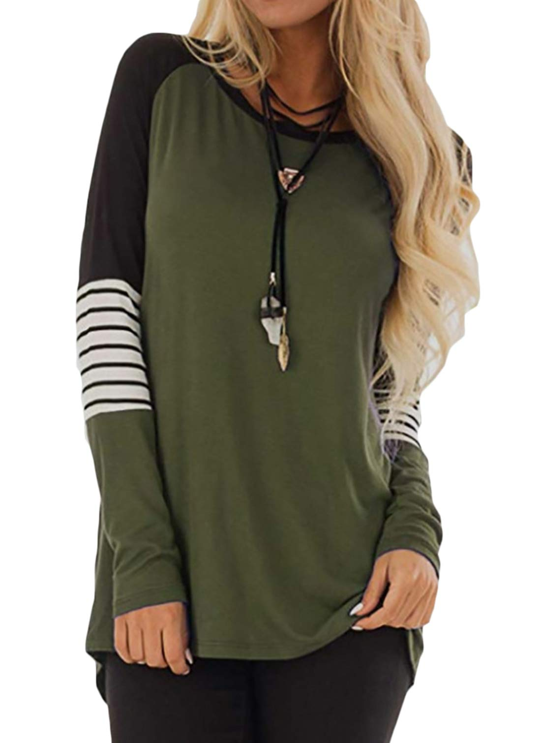 AMCLOS Womens Tops Striped Color Block Tee Shirts Casual Blouses Long Sleeve Pullover Lightweight Tunic (L, Green)