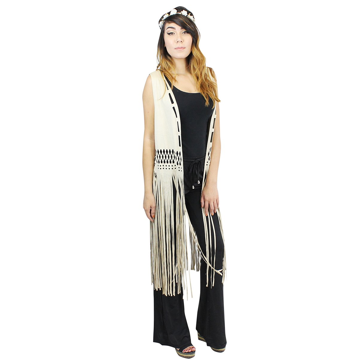 Vest Faux Suede with Long Tassels