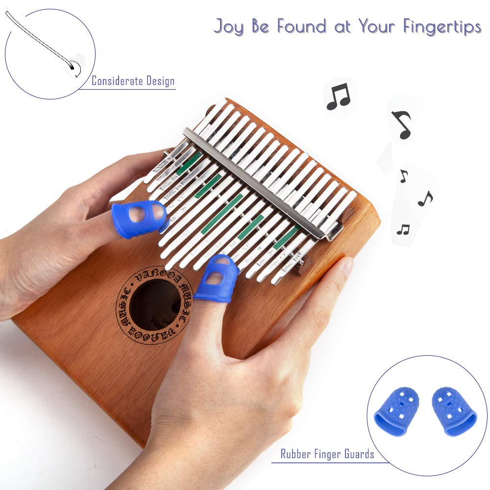 Vangoa Kalimba 17 keys African Thumb Piano kit with Rubber Finger Guards, Tuning Hammer, Carry Bag, Cloth bag, Pickup and Key stickers by Vangoa (Image #4)