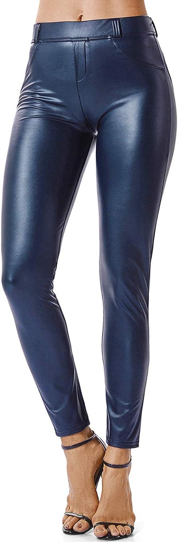 FITTOO Mujeres PU Leggins Cuero Brillante Pantalón Elásticos Pantalones para Mujer