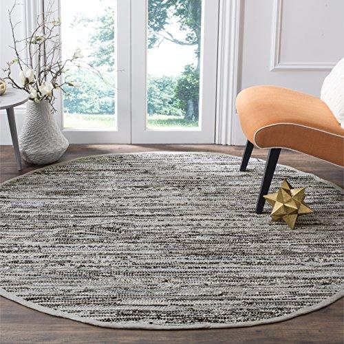 Safavieh Rag Rug Collection RAR128A Hand Woven Grey Cotton Round Area Rug (6' Diameter) Round Rag Rugs
